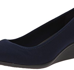 Anne Klein Sport Women's Wisher Fabric Wedge Pump, Navy, 9.5 M US