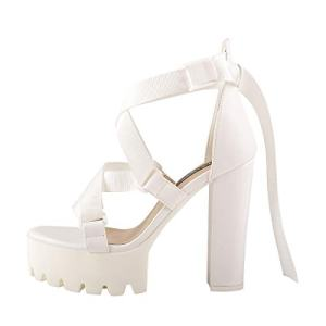 Onlymaker Women's Ankle Strap Platform Chunky Heel Sandals Buckle