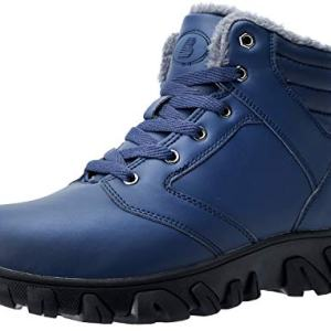 Barerun Men Winter Snow Boots Water Resistant Booties Anti-Slip