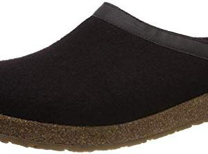 HAFLINGER GZL Leather Trim Grizzly Wool Mule Clog