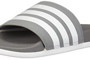 adidas Men's Adilette Comfort Slide Sandal, White/Grey