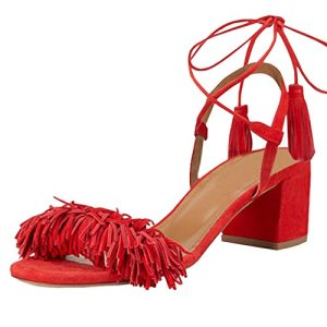 LOVIRS Womens Red Open Toe Ankle Ties Chunky Heel Fringed Suede Sandals Dress Causal Shoes 11 M US