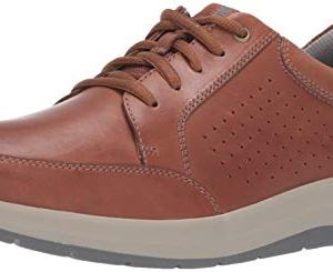 CLARKS Men's Shoda Walk Waterproof Sneaker, Tan Leather