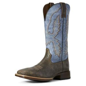 Ariat Men's Pecos Western Boot, Brooklyn Brown/Igloo Blue, 11EE
