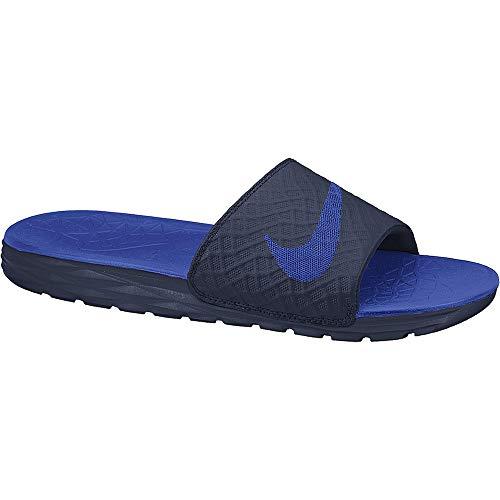 Nike Men's Benassi Solarsoft Slide Athletic Sandal, Midnight Navy/Lyon Blue