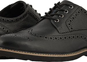 Nunn Bush Men Oakdale Wingtip Oxford Lace Up, Black Tumbled