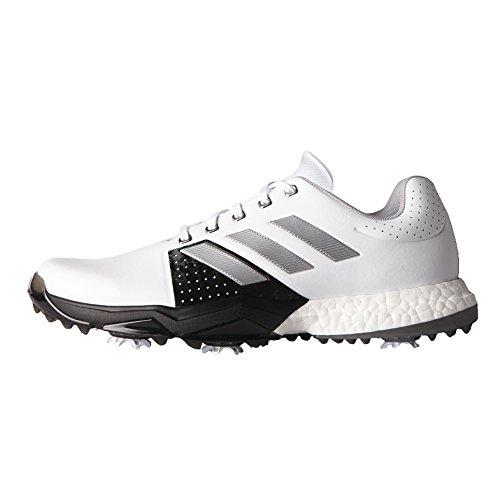 adidas Men's Adipower Boost 3 WD Golf Shoe, White/Silver Metallic/Black, 10.5 W US
