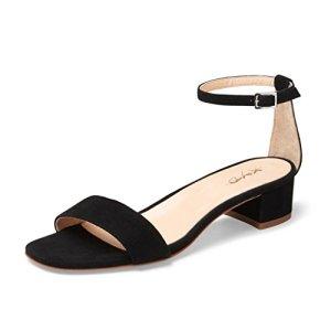 XYD Women Open Toe Strappy Low Block Heel Sandal Pumps Ankle