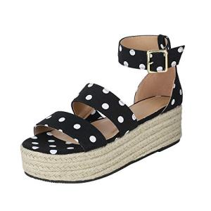 LAICIGO Women's Polka Dot Printed Espadrilles Platform Strappy Ankle