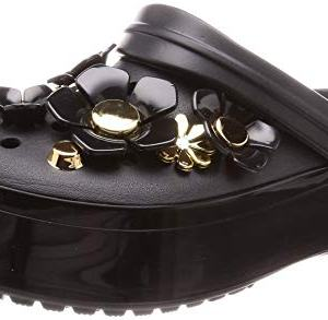 Crocs Crocband Platform Metallic Blooms Clog, Black, 9 US Men/ 11 US Women M US