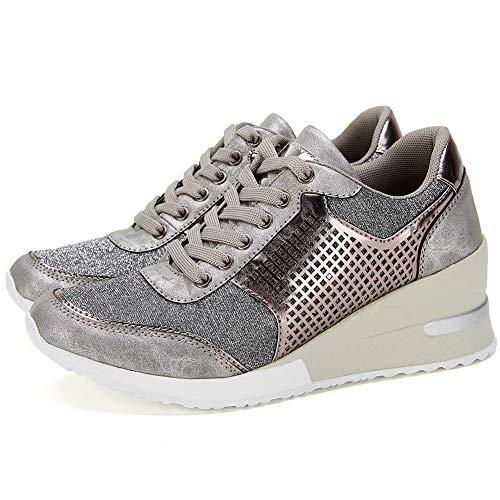 High Heeld Wedge Sneakers for Women - Ladies Hidden Sneakers Lace Up Shoes
