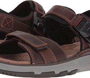 CLARKS Mens Un Trek Part Sandal, Dark Tan Leather
