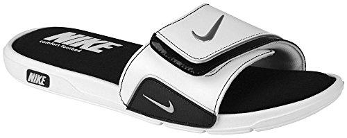 Nike Comfort Slide Mens Active Slide Sandals White/Metallic Silver/Black
