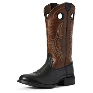 Ariat Men's Sport Big Hoss Western Boot, Black Carbon/Mayan Brown, 13D