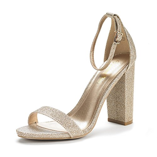 DREAM PAIRS Women's Hi-Chunk Gold Glitter High Heel Pump Sandals - 7.5 M US