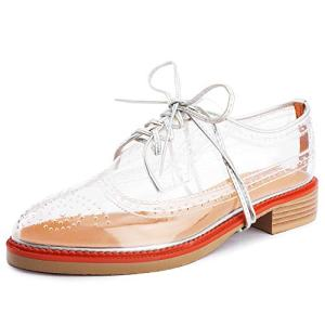Aiminila Women's Lace Up Oxfords Perforated Wingtip Transparent Soft