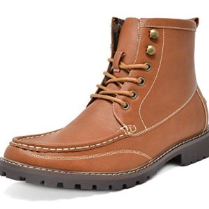 Bruno Marc Men's Brown Motorcycle Boots Dress Oxford Boots Stone