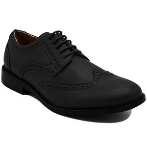 Nautica Men's Dress Shoes Wingtip, Lace Up Oxford Business Casual-Miles-Black Burnished-9.5