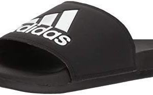adidas Men's Adilette Comfort Slide Sandal, Black/Black/White