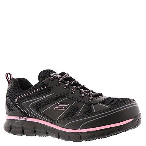 Skechers Work Women's Synergy - Algonac Black Leather/Mesh/Pink Trim 8 B US B (M)