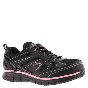 Skechers Work Women's Synergy - Algonac Black Leather/Mesh/Pink Trim 8 B US B (M)