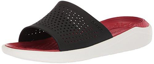 Crocs Literide Slide Flat Sandal, black/white, 11 US Men/ 13 US Women M US