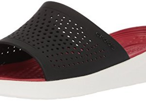 Crocs Literide Slide Flat Sandal, black/white, 11 US Men/ 13 US Women M US