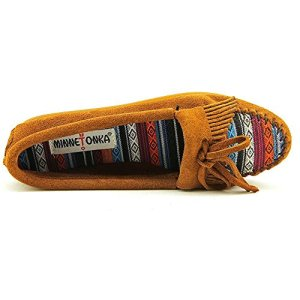 Minnetonka Women's Kilty Suede Moc Brown Suede/Arizona Fabric