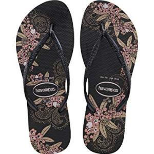 Havaianas Women's Slim Organic Flip Flop Sandal, Black/Dark Grey