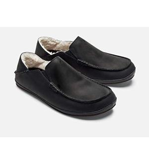 OluKai Moloa Slipper - Men's Nubuck/Shearling House Shoes Onyx/Onyx