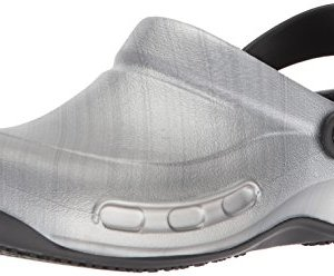 Crocs Unisex Bistro Graphic Clog Shoe, metallic/silver