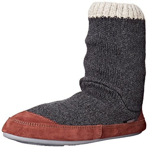 Acorn Men's Slouch Boot Slipper, Charcoal Ragg Wool