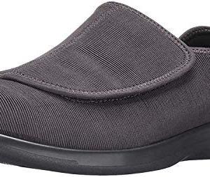 Propet Men's Cush N Foot Slipper, Slate Corduroy