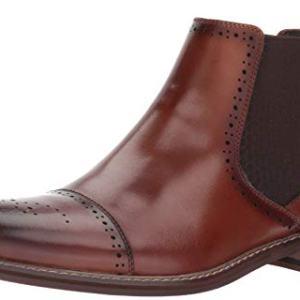 STACY ADAMS Men's Alomar Cap Toe Chelsea Boot, Cognac