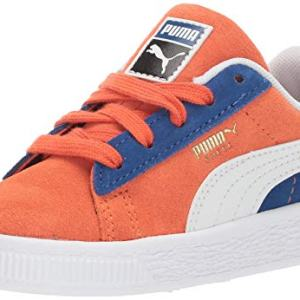 PUMA Boys' Suede Classic Sneaker, Nasturtium- White-surf The Web