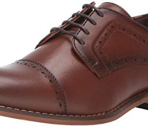 STACY ADAMS Boys' Dickinson Cap-Toe Oxford, Cognac