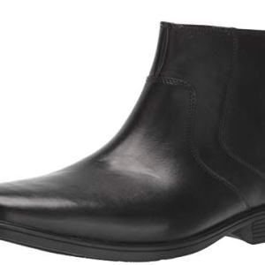 CLARKS Men's Tilden Zip II Waterproof Boot Ankle, Black Leather