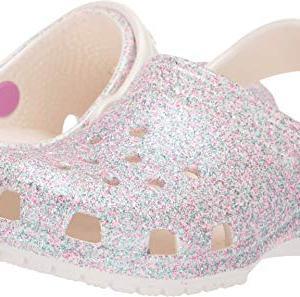 Crocs Kids' Classic Glitter Clog, Oyster