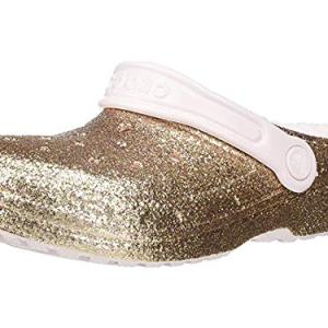 Crocs Classic Glitter Lined Clog, Gold/Barely Pink