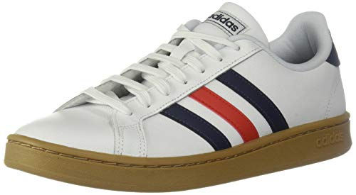 adidas Men's Grand Court Sneaker, White/Trace Blue/Active Red