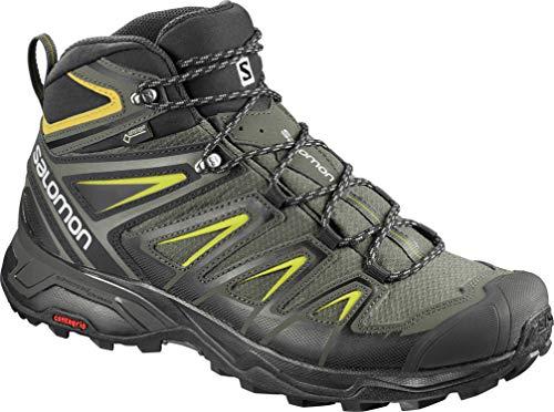 Salomon Men's X Ultra Mid GTX Hiking Boots, Castor Gray/Black/Green