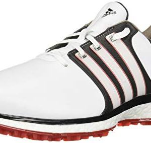 adidas Men's Spikeless Golf Shoe, FTWR White/core Black/Scarlet
