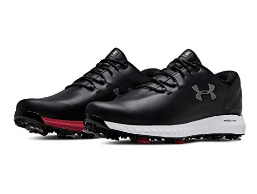 Under Armour New Mens HOVR Drive UA Golf Shoes Black/Gunmetal/Red