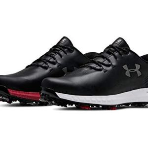 Under Armour New Mens HOVR Drive UA Golf Shoes Black/Gunmetal/Red