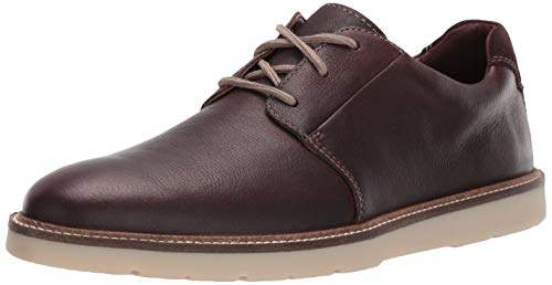 Clarks Men's Grandin Plain Oxford, Dark Brown Tumbled Leather