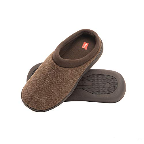 Hanes Men's Memory Foam Indoor Outdoor Clog Slipper Shoe with Fresh IQ (Mens XX Large (12.5-13.5), Brown Clog)