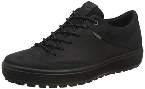 ECCO Men's Soft 7 TRED Low Gore-TEX Sneaker, Black Suede/Black Nubuck