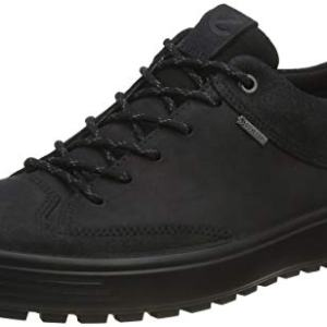 ECCO Men's Soft 7 TRED Low Gore-TEX Sneaker, Black Suede/Black Nubuck