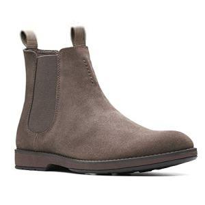 Clarks Men's Hinman Chelsea Boot, Dark Taupe Suede