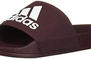 adidas Men's Adilette Shower Sport Sandal, Maroon/White/Maroon
